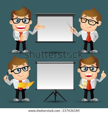 People Set - Business - Men giving presentation - stock vector
