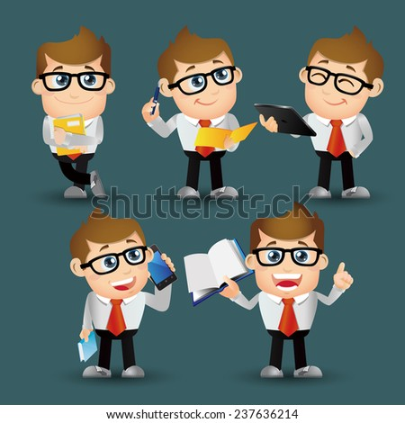 People Set - Business - Office man standing - stock vector
