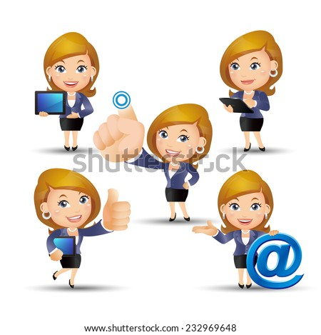People Set - Business - Office woman on the net - stock vector