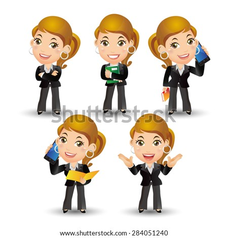 People Set - Business - Office women - stock vector