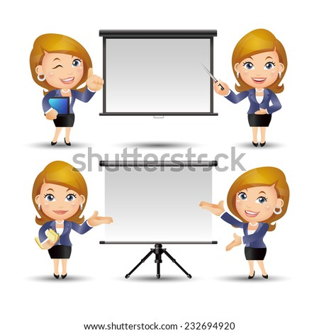 People Set - Business - Office women giving presentation - stock vector