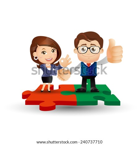 People Set - Business - People standing on jigsaw puzzle pieces - stock vector