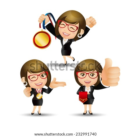 People Set - Business - Victorious. Businesswomen - stock vector