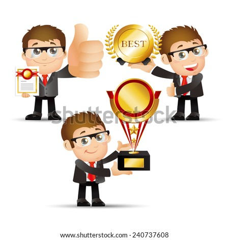People Set - Business - Victorious. Office man - stock vector