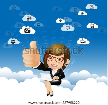People Set - Cloud computing -Businesswoman work in the sky, Thumb up - stock vector