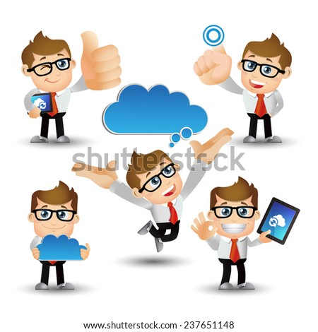 People Set - Cloud computing - 5 cloud computing men. blue cloud - stock vector