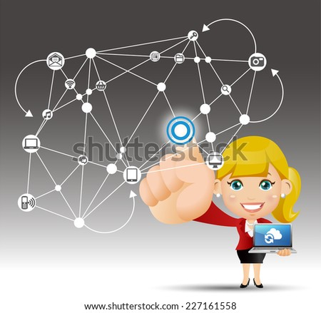 People Set - Cloud computing - cloud computing woman - stock vector