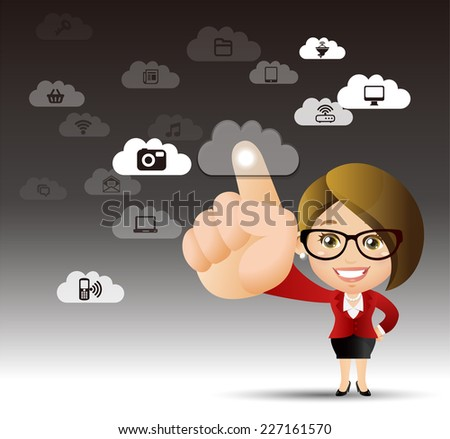 People Set - Cloud computing - cloud computing women - stock vector