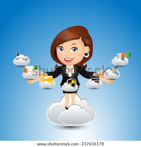 People Set - Cloud computing -Cute cloud computing businesswoman - stock vector