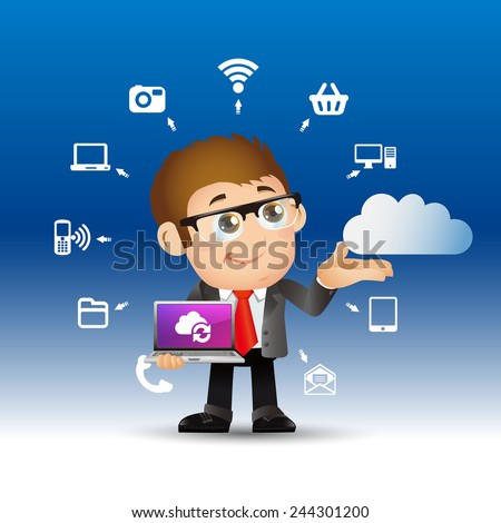 People Set - Cloud computing -hansom businessman - stock vector