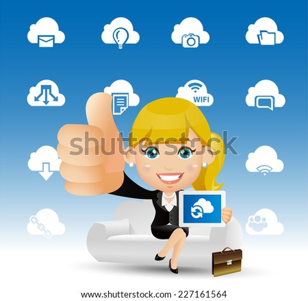 People Set - Cloud computing -Women on the cloud - stock vector
