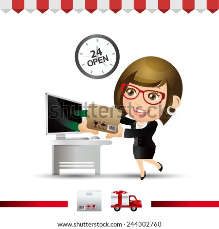 People Set - E-shopping - Businesswoman buy item from on-line shop and fast delivery - stock vector