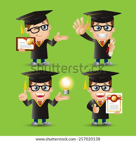 People Set - Education - Graduate student character. Man - stock vector