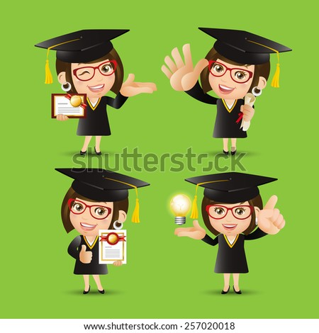 People Set - Education - Graduate student character. Woman - stock vector
