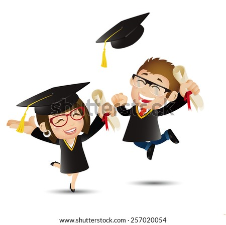People Set - Education - Graduate student jumping for joy and tossing their graduation caps - stock vector