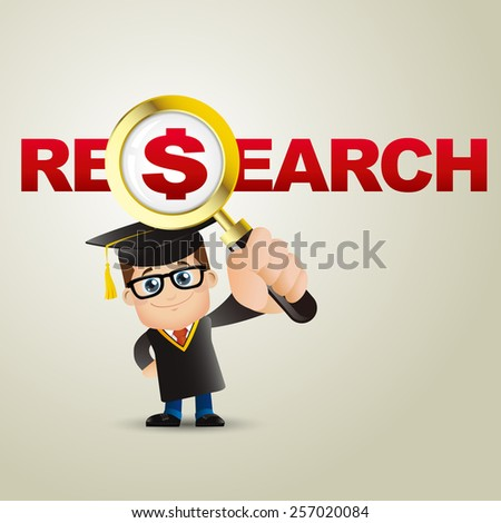 People Set - Education - Graduate student. Man. Research and dollar - stock vector