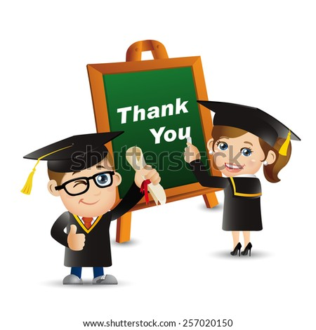 People Set - Education - Graduate student. Thank you. Woman. Man - stock vector