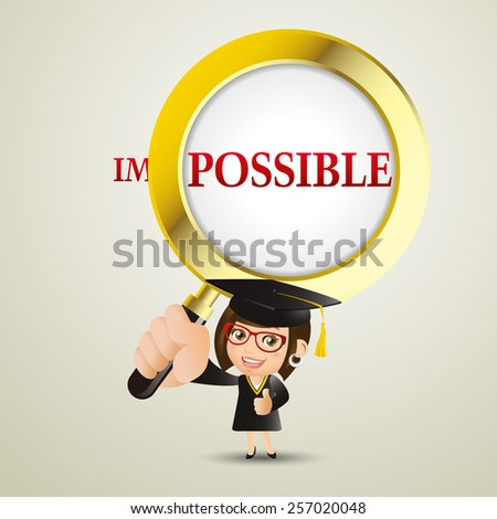 People Set - Education - Graduate student. Woman. It is possible - stock vector