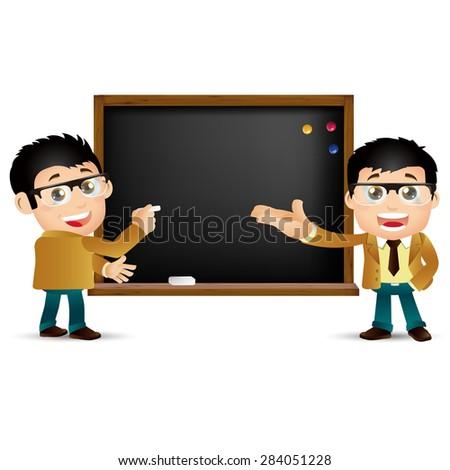 People Set - Education - Teacher. Man. Blackboard - stock vector