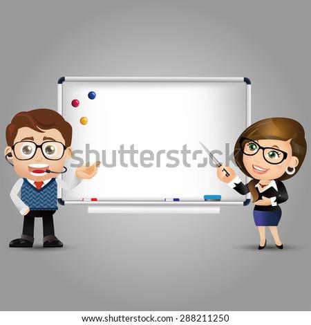 People Set - Education - Teacher. Whiteboard - stock vector
