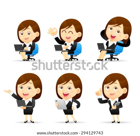 People Set for Business. Office woman with the laptop