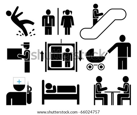 People - set of vector icons. Black pictograms on white. Caution - wet floor. Restroom. Elevator, escalator. Delivery. Cafe, restaurant. Meeting. Emergency. Hotel. - stock vector