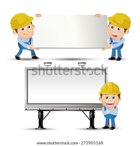 People Set - Profession - Builder carring the blank board and standing in front of the billboard - stock vector