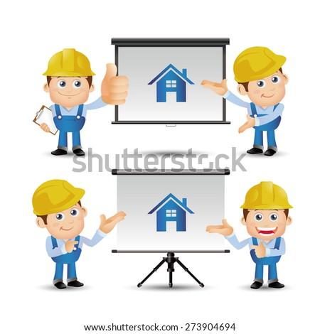 People Set - Profession - Builder giving presentation - stock vector
