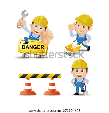 People Set - Profession - Builders with tools - stock vector