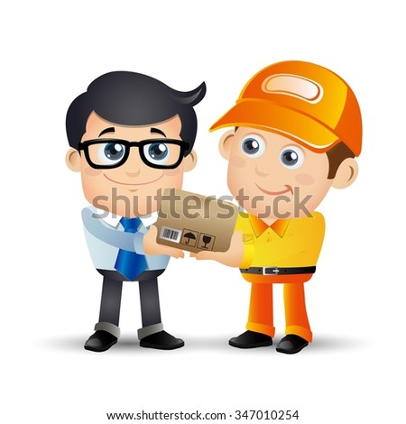 People Set - Profession - Delivery person - stock vector