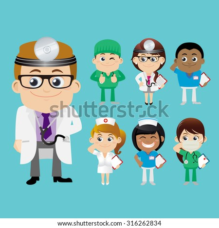 People Set - Profession - Doctor set - stock vector