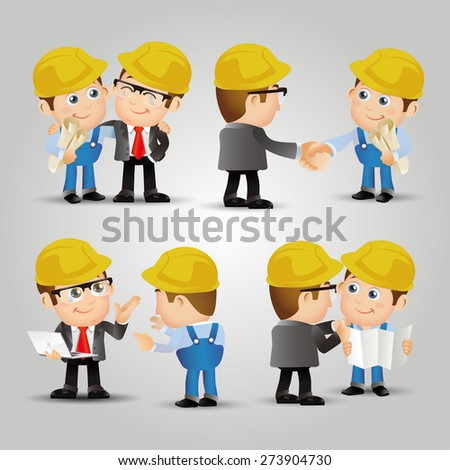 People Set - Profession - Engineers meeting connection - stock vector