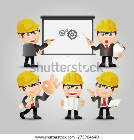 People Set - Profession - Set of Engineer in different poses - stock vector