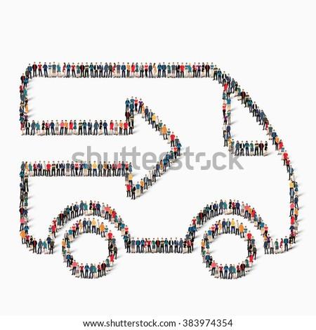 people  shape  car transportation icon - stock vector