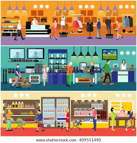 People shopping in a mall concept. Consumer electronics store Interior. Colorful vector illustration. Customers buy products in food supermarket. - stock vector
