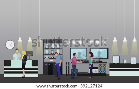 People shopping in a mall. Poster concept. Consumer electronics store Interior. Colorful vector illustration. Design elements and banners in flat style.  - stock vector