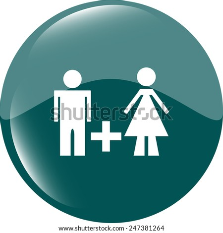 people sign icon. male plus female toilet. metro style buttons. modern buttons - stock vector