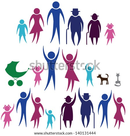 People silhouette family icon. Person vector woman, man. Child, grandfather, grandmother, dog, cat, baby buggy, carriage. Generation illustration. - stock vector