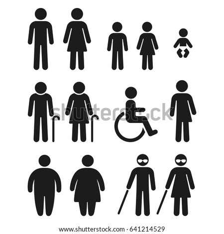 Beau People Silhouette Icon Set. Bathroom Gender Signs And Health Conditions  Symbols. Adults And Children