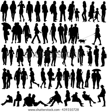 People silhouette set, vector - stock vector