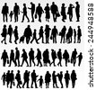 People silhouettes collection - stock vector