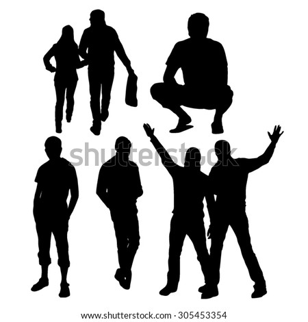People silhouettes in different poses and angles - stock vector