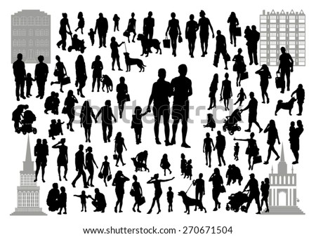 People silhouettes in the city - stock vector