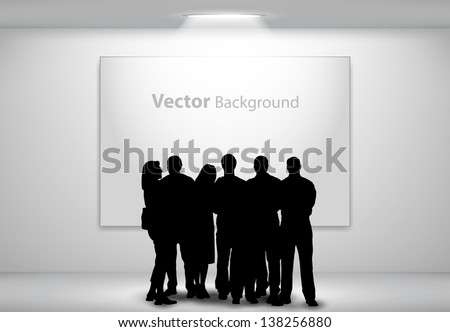 People silhouettes looking on the empty gallery wall with lights for images and advertisement. Ideal concept for promoting product or service.  Fully editable eps10 - stock vector