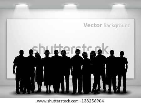People silhouettes looking on the empty gallery wall with lights for images and advertisement. Ideal concept for promoting product or service.  Fully editable eps10