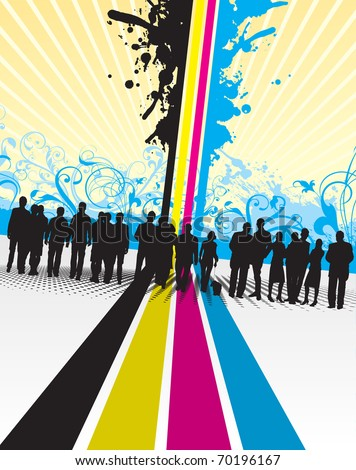 people silhouettes on a cmyk line background