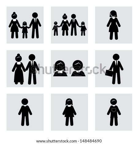 people silhouettes over white background vector illustration  - stock vector