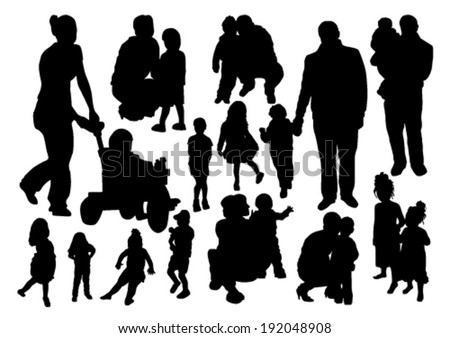 People Silhouettes Set - stock vector