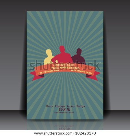 People silhouettes with retro vintage ribbon on sunrays background - Flyer Template Vector Design - stock vector