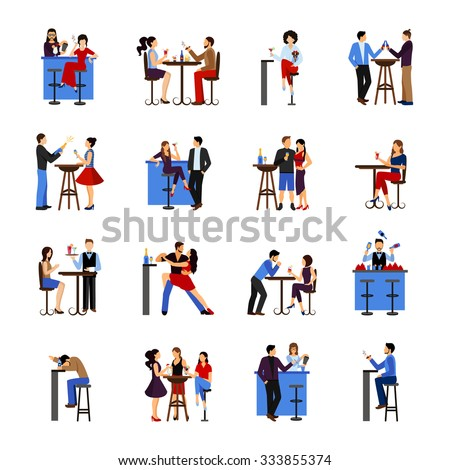 People sitting and drinking in bar flat icons set isolated vector illustration - stock vector